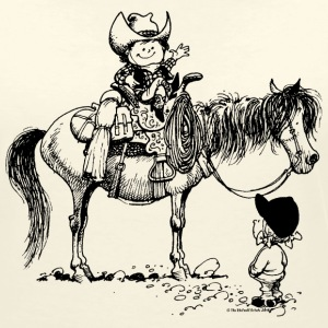 Thelwell 'Cowboy with Pony' T-shirts - Vrouwen T-shirt met V-hals