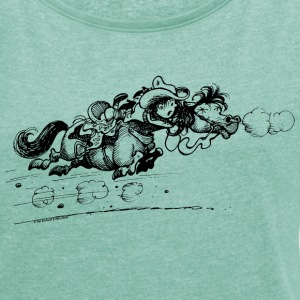 Thelwell 'Western Pny run away' T-Shirts - Women's T-shirt with rolled up sleeves