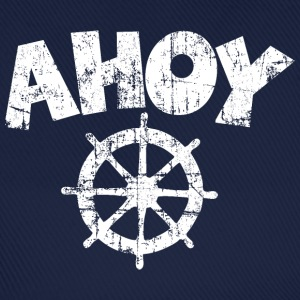Ahoy Wheel Sail Design (White) Caps & Hats - Baseball Cap