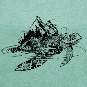 Surreal sea turtle T-Shirts - Women's T-shirt with rolled up sleeves