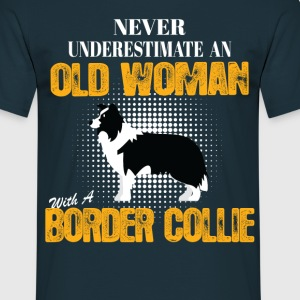 Old Woman With A Border Collie T-Shirts - Men's T-Shirt