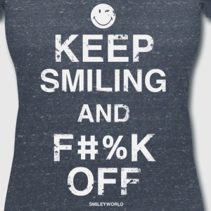 SmileyWorld Keep Smiling and F#%K Off - Women's V-Neck T-Shirt