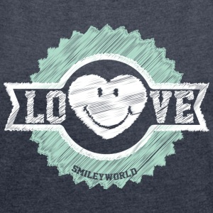 SmileyWorld Love Badge - Women's T-shirt with rolled up sleeves
