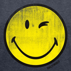 SmileyWorld Classic Wink Smiley - Women's T-shirt with rolled up sleeves
