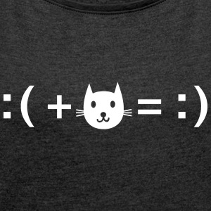 Formula For Happiness (Cat) T-shirts - Vrouwen T-shirt met opgerolde mouwen