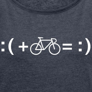 Formula For Happiness (Bike) T-Shirts - Women's T-shirt with rolled up sleeves