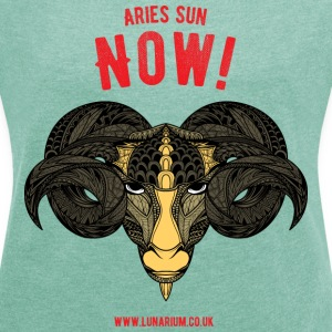 Aries Sun Sign Women'sT-Shirt - Women's T-shirt with rolled up sleeves