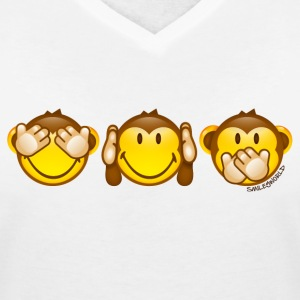 SmileyWorld Three Monkeys left to right - Women's V-Neck T-Shirt