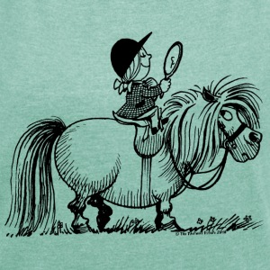 Thelwell Pony 'Penelope with mirror' - Women's T-shirt with rolled up sleeves