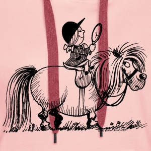 Thelwell Pony 'Penelope with mirror' - Women's Premium Hoodie