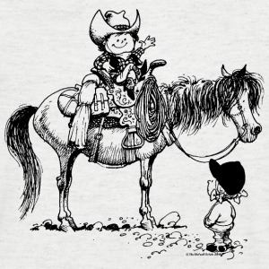 Thelwell Cowboy with his Pony - Men's V-Neck T-Shirt