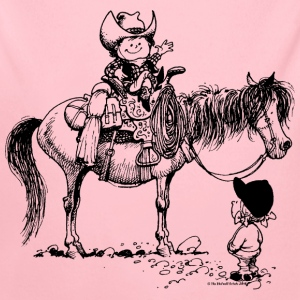 Thelwell Cowboy with his Pony - Longlseeve Baby Bodysuit