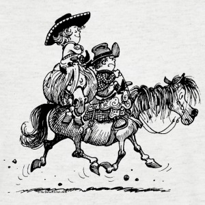 Thelwell Two cowboys with Ponies - Men's V-Neck T-Shirt