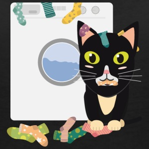 Cat with washing machine T-Shirts - Women's V-Neck T-Shirt