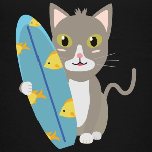 Cat with surfboard Shirts - Teenage Premium T-Shirt