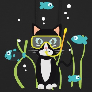 Chat plongée sous-marine poissons Sweat-shirts - Sweat-shirt à capuche unisexe