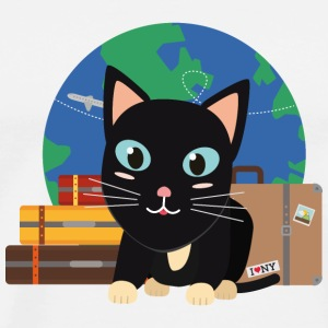 World Travel cat with suitcases T-Shirts - Men's Premium T-Shirt