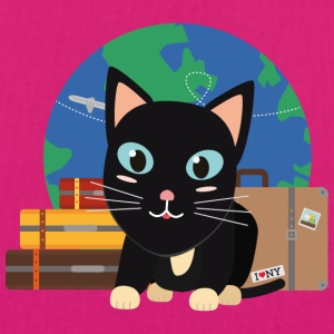 World Travel cat with suitcases Bags & Backpacks - EarthPositive Tote Bag