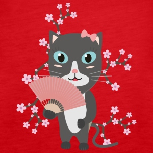 Japanese cat with cherry blossoms Tops - Women's Premium Tank Top