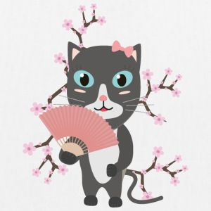 Japanese cat with cherry blossoms Bags & Backpacks - EarthPositive Tote Bag