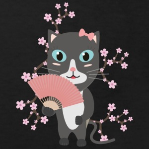Japanese cat with cherry blossoms Shirts - Kids' Organic T-shirt