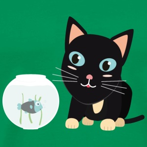 Cat with fish Aquarium T-Shirts - Men's Premium T-Shirt
