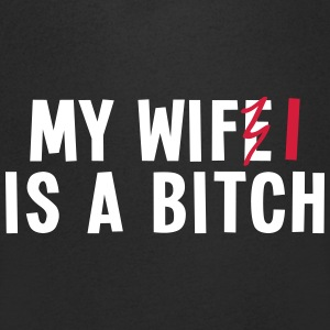 my wifi is a bitch 2c / my wife is a bitch T-shirts - T-shirt med v-ringning herr