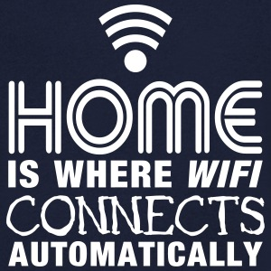 home is where the wifi connects automatically II2c T-shirts - T-shirt med v-ringning herr