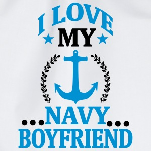 I LOVE MY FRIEND WHO WORKS IN THE NAVY! Bags & Backpacks - Drawstring Bag
