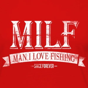 MILF / Man I Love Fishing / white grunge Manga larga - Camiseta de manga larga premium mujer
