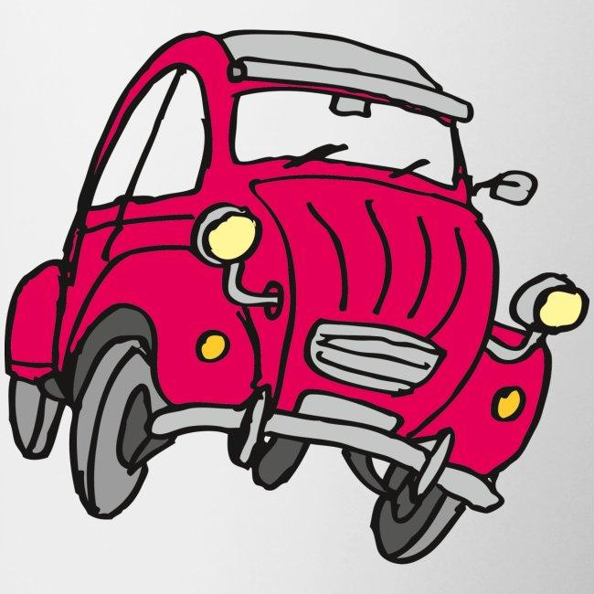Rotes Comic Auto Tasse Zweifarbig