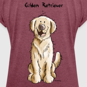 Sweet Golden Retriever  T-Shirts - Women's T-shirt with rolled up sleeves