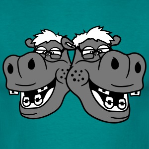 team buddies 2 couple duo head face nerd geek smar T-Shirts - Men's T-Shirt
