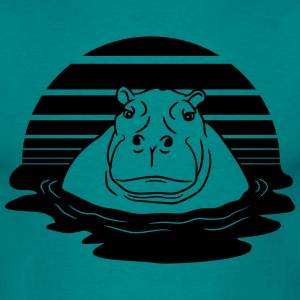 sun evening moon sunset hippopotamus thick water s T-Shirts - Men's T-Shirt