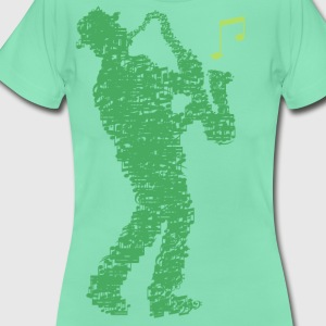 saxophone_player_made_of_notes_09201605 T-Shirts - Frauen T-Shirt