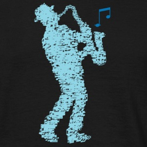 saxophone_player_made_of_notes_09201606 T-Shirts - Männer T-Shirt