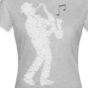 saxophone_player_made_of_notes_09201601 T-Shirts - Frauen T-Shirt