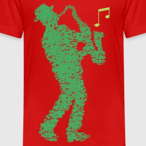 saxophone_player_made_of_notes_09201605 T-Shirts - Kinder Premium T-Shirt