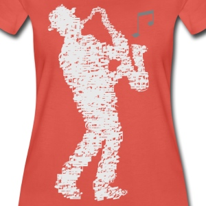 saxophone_player_made_of_notes_09201601 T-Shirts - Frauen Premium T-Shirt