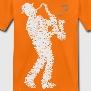 saxophone_player_made_of_notes_09201601 T-Shirts - Kinder Premium T-Shirt