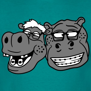 head, face, nerd team buddies duo geek hornbrille  T-Shirts - Men's T-Shirt