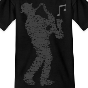 saxophone_player_notes_092016grau T-Shirts - Kinder T-Shirt