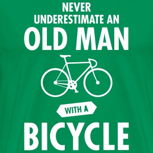 Never Underestimate An Old Man With A Bicycle T-shirts - Mannen Premium T-shirt
