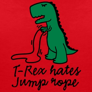 T-Rex hates jump rope T-shirts - Vrouwen T-shirt met V-hals