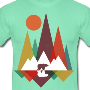 Donker munt Bear in the mountains T-shirts - Mannen T-shirt