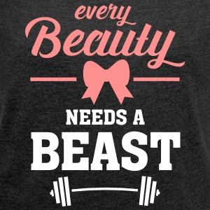 Beauty - Beast (Part 1) T-Shirts - Frauen T-Shirt mit gerollten Ärmeln