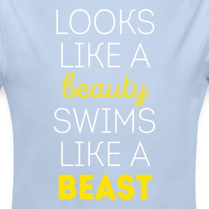 Swims like a beast Swimming T Shirt Baby Bodysuits - Longlseeve Baby Bodysuit