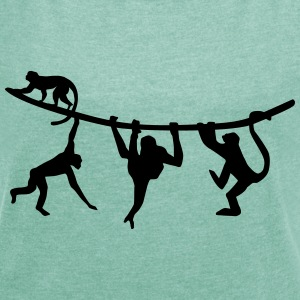 climbing monkeys - monkey T-Shirts - Women's T-shirt with rolled up sleeves