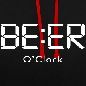 Beer o clock de l'alcool Sweat-shirts - Sweat-shirt contraste