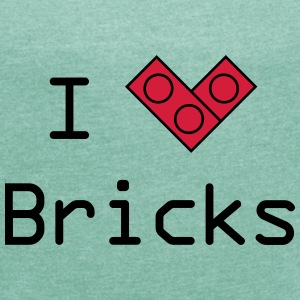 I love bricks T-Shirts - Frauen T-Shirt mit gerollten Ärmeln